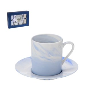 Coffee Cup and Saucer 6 by 6,3.5oz with Blue Marble Design N 643700309303