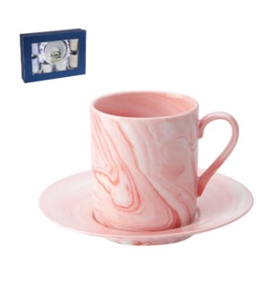 Coffee Cup and Saucer 6 by 6,3.5oz with Pink Marble Design N 643700309297