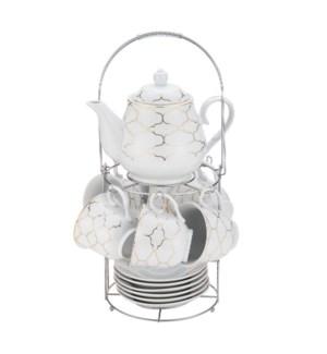 Tea Set 15pc with Rack Porcelain                             643700309785