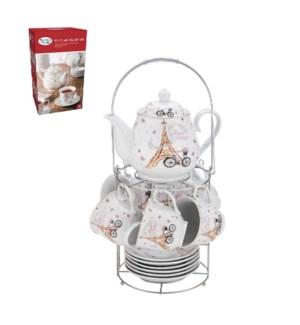 Tea Set 15pc with Rack Porcelain                             643700309792