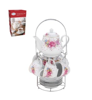 Tea Set 15pc with Rack Porcelain                             643700309822