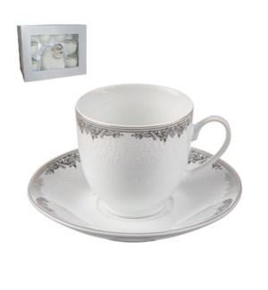 Tea Cup and Saucer 6 by 6,7oz,Porcelain Super White Round Sh 643700311214