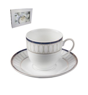 Tea Cup and Saucer 6 by 6,7oz,Porcelain Super White Round Sh 643700311221
