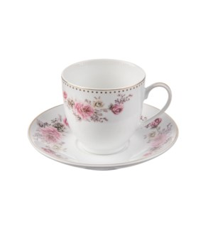 Tea Cup and Saucer 6 by 6,7oz,Porcelain Super White Round Sh 643700311238