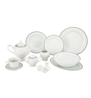 Dinner Set 49pc Svc 8, Porcelain Super White Round Shape     643700311122