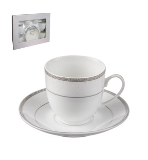 Tea Cup and Saucer 6 by 6,7oz,Porcelain Super White Round Sh 643700311245