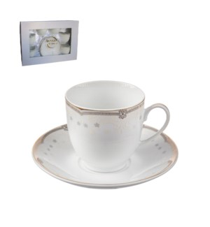 Tea Cup and Saucer 6 by 6,7oz,Porcelain Super White Round Sh 643700311252
