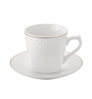 Coffee Cup and Saucer 6 by 6,3.5Oz,New Bone Chia Emboss Whit 643700312341