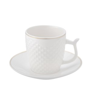 Coffee Cup and Saucer 6 by 6,3.5Oz,New Bone Chia Emboss Whit 643700312358
