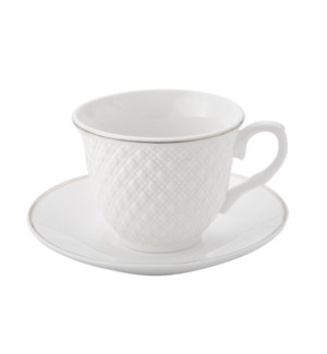 Coffee Cup and Saucer 6 by 6,3.5Oz,New Bone Chia Emboss Whit 643700312365