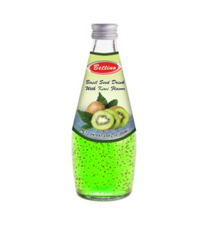 Basil Seed Drink Kiwi Flavors Glass 290mL Bettino            643700312846