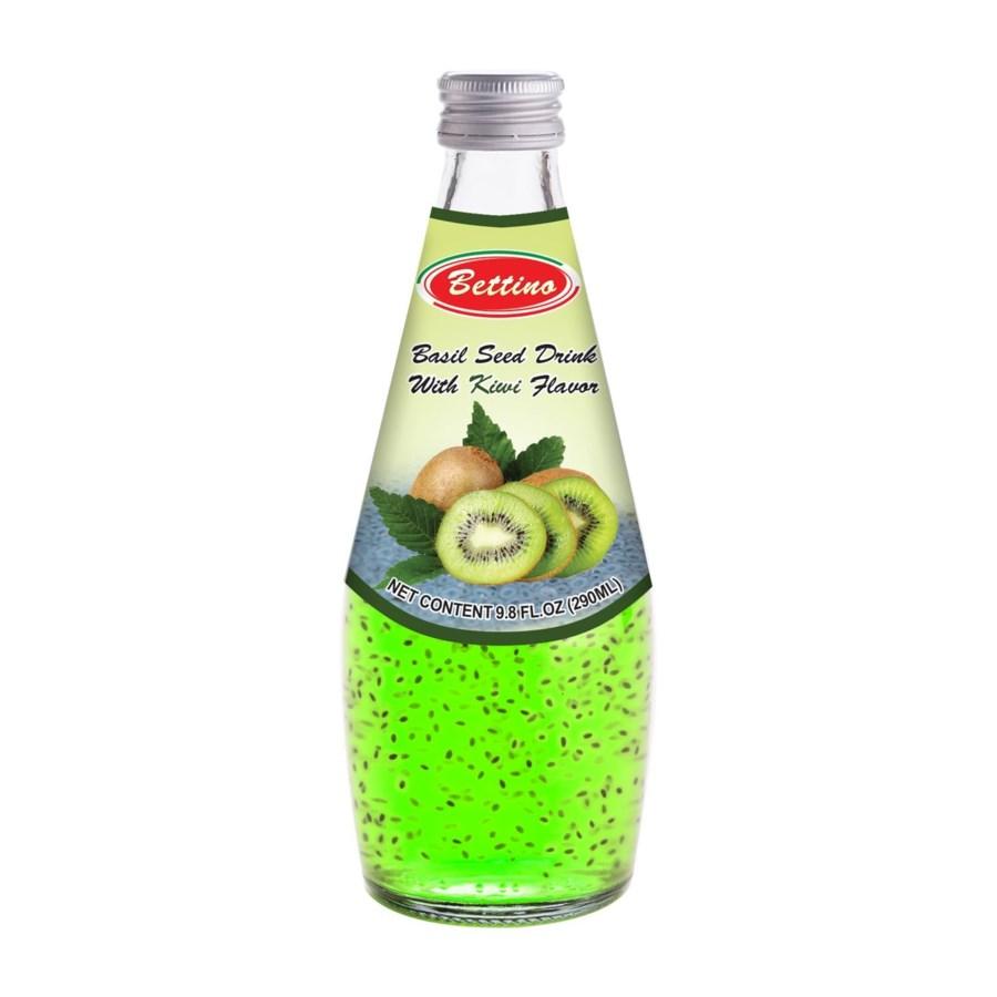 Basil Seed Drink Kiwi Flavors Glass 290mL Bettino            643700312846