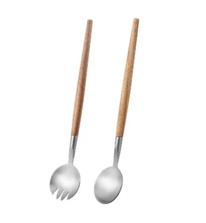 Salad Spoon and Fork 2pc Set SS 11.5in with Wood Handle      643700315021
