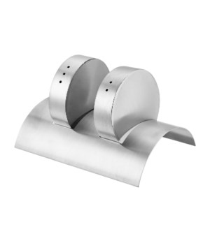 Salt and Pepper Shaker 2pc Set SS with Holder                643700315069