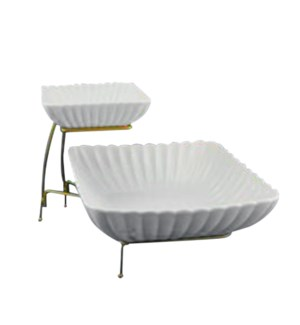 Serving Tray 2 Tier Porcelain 6in 10in with Black Iron Rack  643700315649