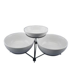 Serving Tray 2 Tier Porcelain 9in 10in with Black Iron Rack  643700315687