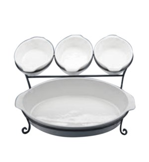 Serving Tray Porcelain 8in 16in with Black Iron Rack         643700315694