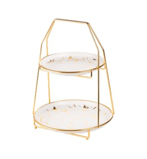 Two Tier Cake Set Ceramic 8in 10.25in with Gold Color Rack   643700316097