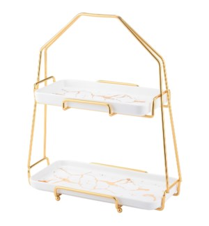 Two Tier Cake Set Ceramic with Gold Color Rack               643700316103