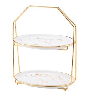 Oval Plate Cake Set Ceramic 11.5in with Gold Color Rack      643700316127