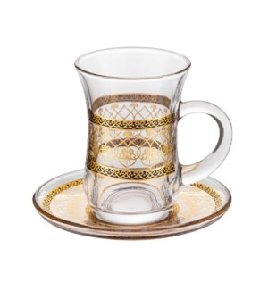 Tea Glass 6 by 6 Set 5Oz Gold Design                         643700322746