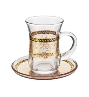 Tea Glass 6 by 6 Set 5Oz Gold Design                         643700322753
