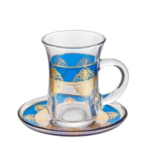 Tea Glass 6 by 6 Set 5Oz Gold Design                         643700322760