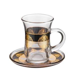 Tea Glass 6 by 6 Set 5Oz Gold Design                         643700322777