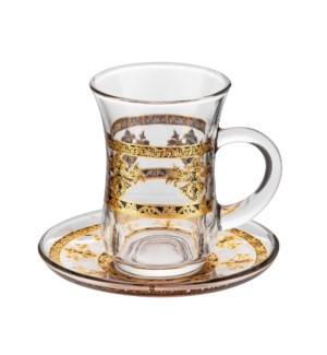 Tea Glass 6 by 6 Set 5Oz Gold Design                         643700322784