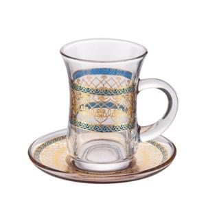 Tea Glass 6 by 6 Set 5Oz Gold Design                         643700322791
