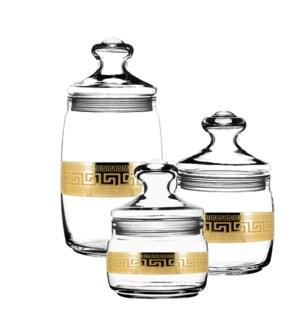 Bulk Can Glass 3pc 1100mL 500mL 420mL Set Gold Baroque Patte 643700324795