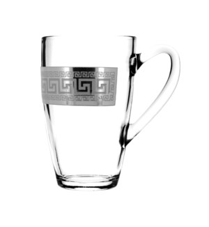 Tea Mug Glass 2pc 11 OZ  Set Silver  Baroque Pattern         643700324801