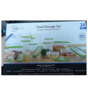 Square Food Container 24pc Set Plastic with Green Edge Lid   643700325655