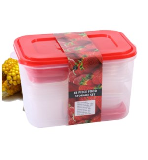 Food Container 48pc Set Plastic with Red Lid                 643700325662