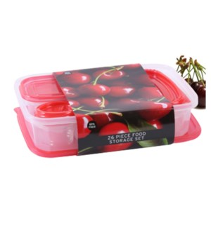 Food Container 26pc Set Plastic with Red Lid                 643700325679