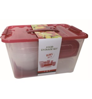 Food Container 100pc Set Plastic with Red Lid                643700325686