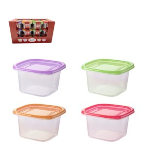 Square Food Container 3pc Set 32.5Oz Plastic with Purple Gre 643700325716