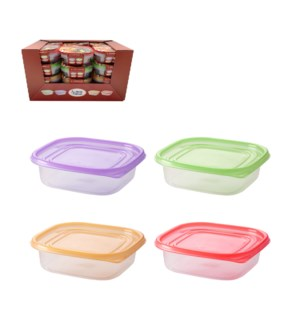 Square Food Container 3pc Set 25.5Oz Plastic with Purple Gre 643700325723