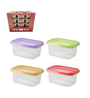 Rect. Food Container 3pc Set 24.5Oz Plastic with Purple Gree 643700325730