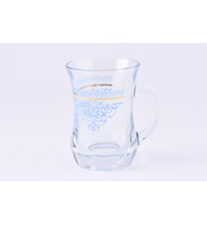 Glass Mug 2Pc Palette Gold Blue 7.60oz                       643700328762