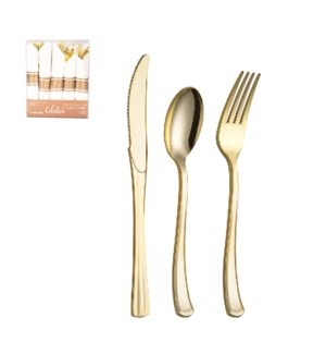 Disposable Plastic Flatware 30pc Set Gold                    643700345028