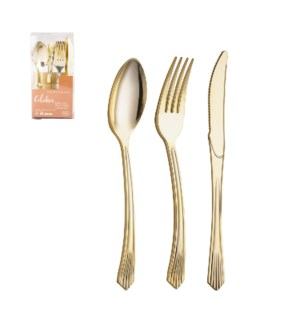 Disposable Plastic Flatware 32pc Set Gold                    643700345059