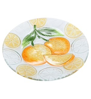 Round Orange Glass Plate 12in                                643700350275