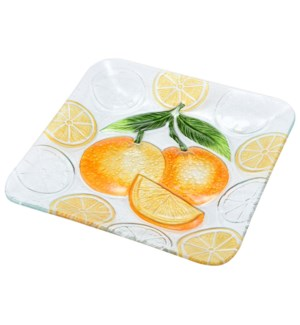 Square Orange Glass Plate 12in                               643700350299