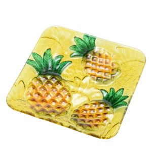 Square Pineapple Glass Plate 8in                             643700350329