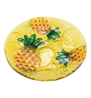 Round Pineapple Glass Plate 10in                             643700350336
