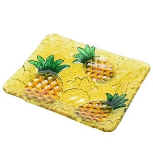 Rectangular Pineapple Glass Plate 10in                       643700350343
