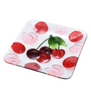 Square Cherry Glass Plate 10in                               643700350350