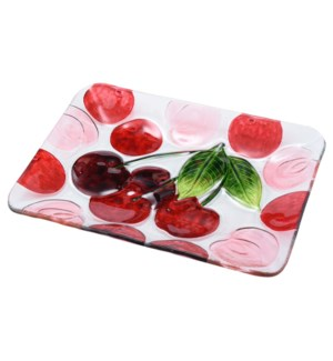 Rectangular Cherry Glass Plate 12in                          643700350374