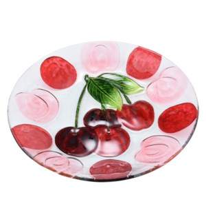Round Cherry Glass Plate 12in                                643700350381